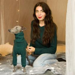 sweter zimowy zielony ZESTAW PIES I WŁAŚCICIEL